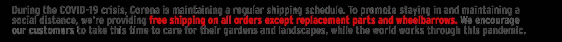 Covid shipping on Corona Tools